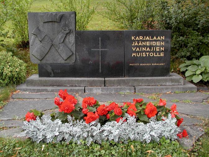 Karjalaan jääneiden vainajien muistomerkki Riihimäellä.