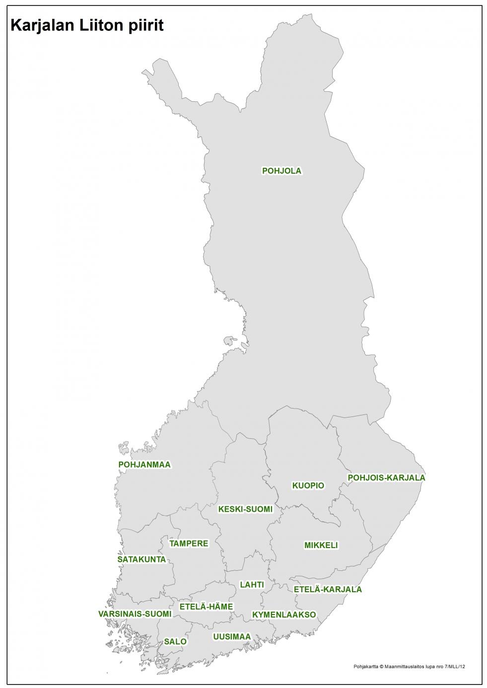 Karjalan Liitolla on 15 piiriä sekä valtakunnalliset pitäjäyhdistysten ja sukuyhteisöjen liitot.