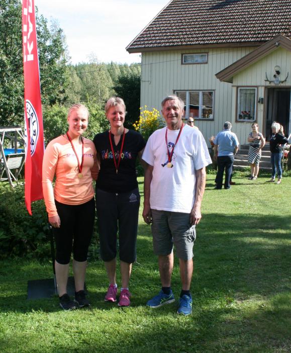 Perheyhteisön kolme sukupolvea yhteiskuvassa, oikealla H80-sarjan voittaja Heikki Pelli, keskellä hänen tyttärensä Hanna Vainionpää (D45 voittaja) ja vasemmalla tyttärentytär Anu Vainionpää (D21 voittaja)