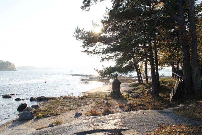 Puugrilli ja rantanäkymä lounaaseen