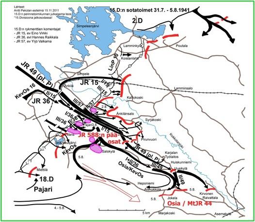 Kuva 1: Karttapiirroksesta selviää 15.D:n hyökkäyksen eteneminen 31.7. - 5.8.1941. Alkuvaiheessa vihollinen pystyi merkittävästi hidastamaan hyökkäyksen etenemistä. Hyökkäysalueen vasemmalle sivustalle jäi Änkilänsaloon vihollisen voimakas tukikohta. Oikealla sivustalla eteneminen pääsi alkuvaikeuksien jälkeen käyntiin. 5.8. mennessä oli vallattu Raivattalan koillispuolinen alue