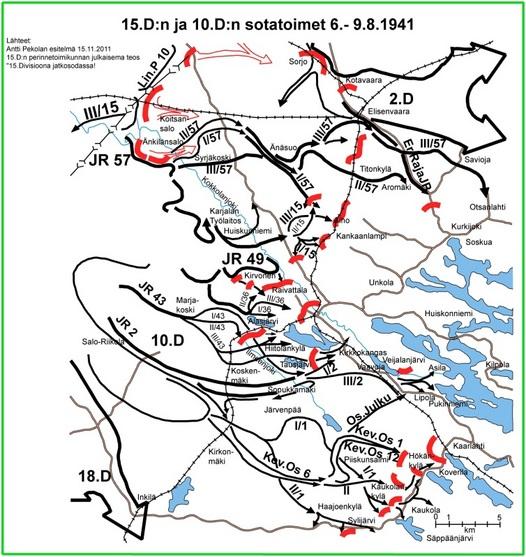 Kuva 2: Alkuvaiheen jälkeen hyökkäyksen painopiste siirtyi Kokkolanjoen koillispuolelle. Saarrostusuhka pakotti vihollisen aloittamaan 5.8. peräytymisen Änkilänsalosta ja Koitsansalosta itään. 15.D:n joukot ylittivät Kokkolanjoen 7.8. Alho vallattiin 10.8. aamulla ja taistelut siirtyivät Karjalan radan itäpuolelle. Tavoitteena oli vihollisen lyöminen Kurkijoen kirkonkylän alueella ja sen yhteyksien sekä perääntymisteiden katkaiseminen Kurkijoelta pohjoiseen.