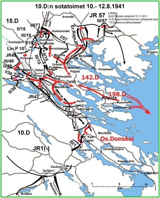 Kuva 3:JR 57 valtasi 10.8 Kurkijoen ja katkaisi näin vihollisen perääntymisreitin pohjoiseen. Myös etelässä vihollisen selustayhteydet katkaistiin Pukinniemen - Telkinniemen alueella 10.D:n hyökkäyksellä. Rengas Hiitolan alueelle saarretun vihollisen ympärillä kiristyi ja sillä oli kiire pelastaa joukkonsa täydelliseltä tuholta siirtämällä ne laivakujetuksin Kilpolan saaren kautta Laatokan eteläpuolelle.