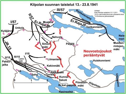 Kuva 4: Vihollinen saarrettiin Hiitolan ja Kurkijoen välisen tien itäpuolelle. 15.D:n voimat eivät kuitenkaan yksin riittäneet vahvan vihollisen tuhoamiseen. Taistelut jähmettyivät Nehvolan - Tiuralan aukeiden tasalle. Lopulta vihollinen sai evakuoitua pääosan saarretuista joukoistaan. 23.8. todettiin Kilpolan saari tyhjäksi vihollisesta viimeisten neuvostojoukkoja evakuoineiden laivojen suuntaavan Laatokalla kohti etelää. Jalkaväkirykmentti 15:n kokonaistappiot sodan alusta Kilpolan suunnan taisteluiden päättymiseen mennessä olivat 258 kaatunutta, 778 haavoittunutta ja 18 kadonnutta, yhteensä 1054 miestä.