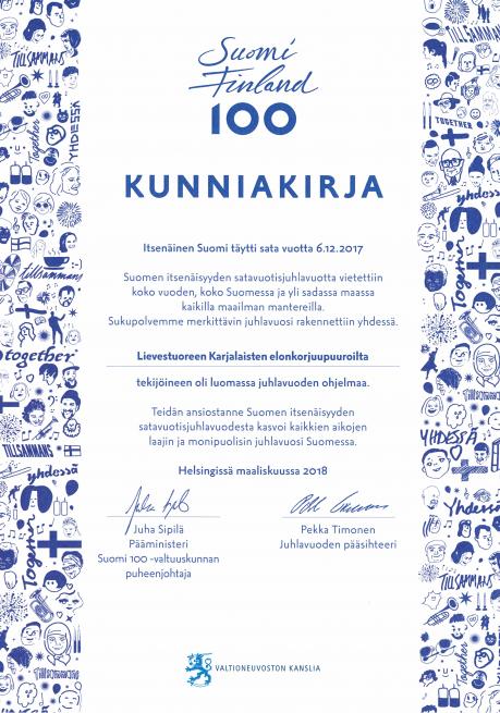 Lievestuoreen Karjalaiset ry:n kunniakirja.