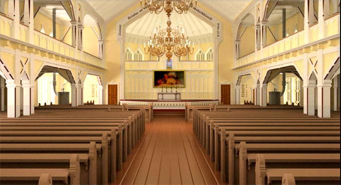 Kuvakaappaus virtuaalisesta kävelystä Kurkijoen kirkon sisällä.